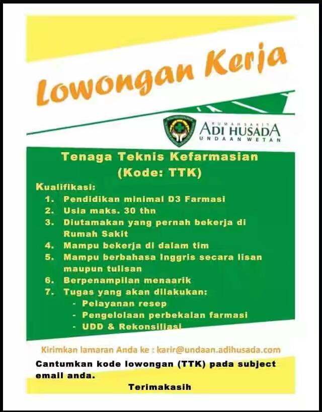 Kumpulan Ilmu Dan Pengetahuan Penting Lowongan Kerja Apoteker Surabaya