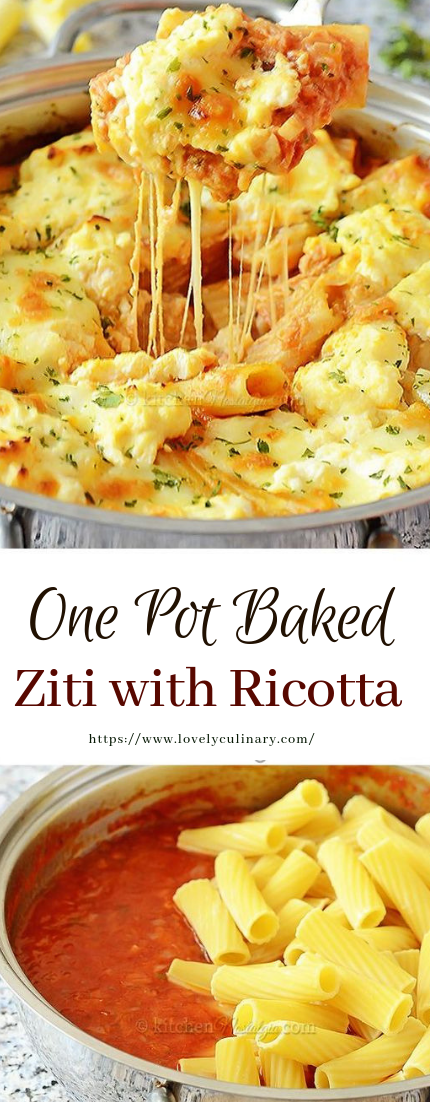 One Pot Baked Ziti with Ricotta #recipe #healthy