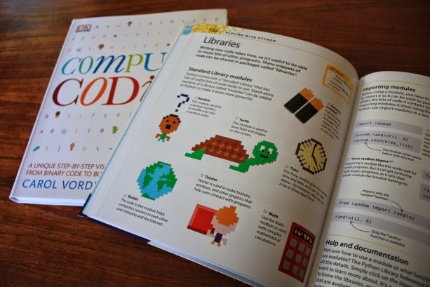 a photo showing one of the pages from Coding for Kids with a large pixel art turtle in the middle