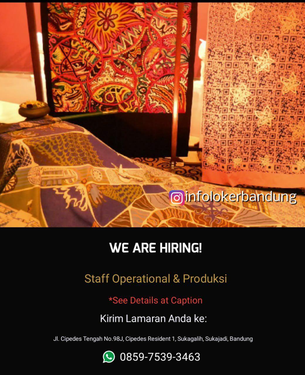 Lowongan Kerja Staff Operational & Produksi PT. Bina Kreativ Berkah Bandung Agustus 2018