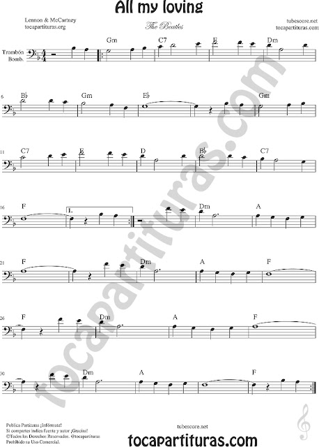 All my loving Partitura de Trombón y Bombardino Sheet Music for Trombone and Euphonium