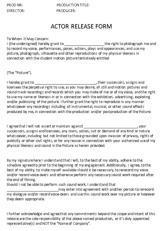A2 MEDIA STUDIES  Group Work - Actor Release Form