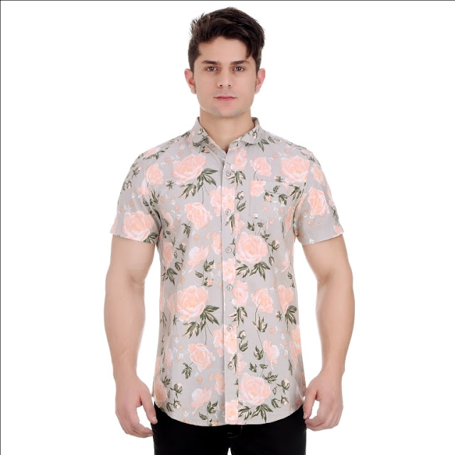 All Over Floral Print Silver Grey Half Sleeves Shirt With Silicon Wash