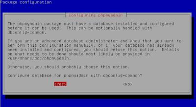 Kita pilih yes untuk mengkonfigurasi database untuk phpmyadmin