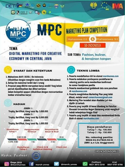 Lomba Marketing Plan Mahasiswa MPC 2018 UNNES