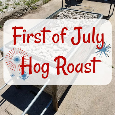 first of july hog roast graphic over hog roasting box