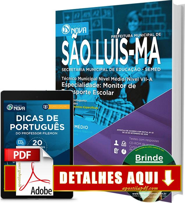 Apostila SEMED 2016 São Luís Monitor de Transporte Escolar Impressa