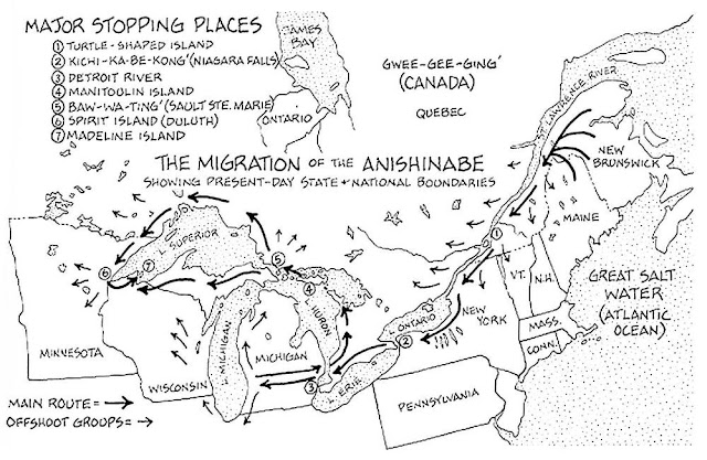 Anishinaabe migrations map from the Mishomis book