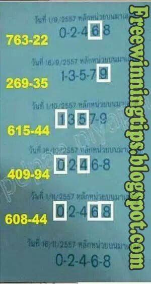 Thai Lottery 3up Tass 16-11-2014