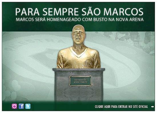 df62b1310 O Palmeiras divulgou a imagem do busto que o goleiro Marcos terá na futura  Arena Palestra. Segundo o comunicado do clube