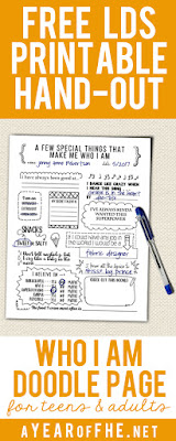 This is such a fun handout for Activity Days, a Family Home Evening or YM/YW's! A doodle page to fill in a bunch of information about what makes you unique! This would be a fun way to get teens excited about writing a Personal History! #lds #personalhistory #childofgod