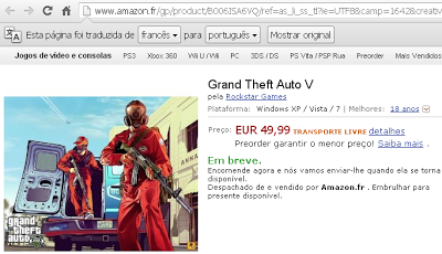 Site da Amazon revela GTA V para PC