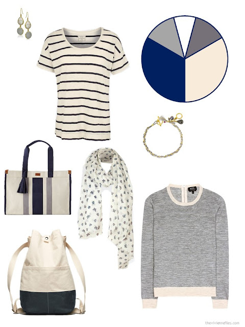 adding beige and navy pieces to a travel capsule wardrobe