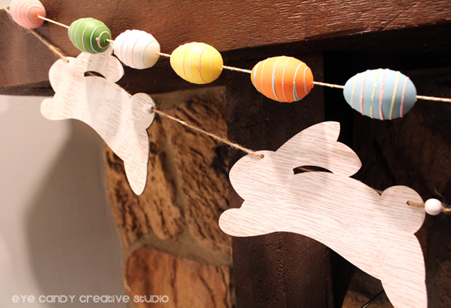 bunny garland, easter egg garland, easter eggs, bunnies, spring