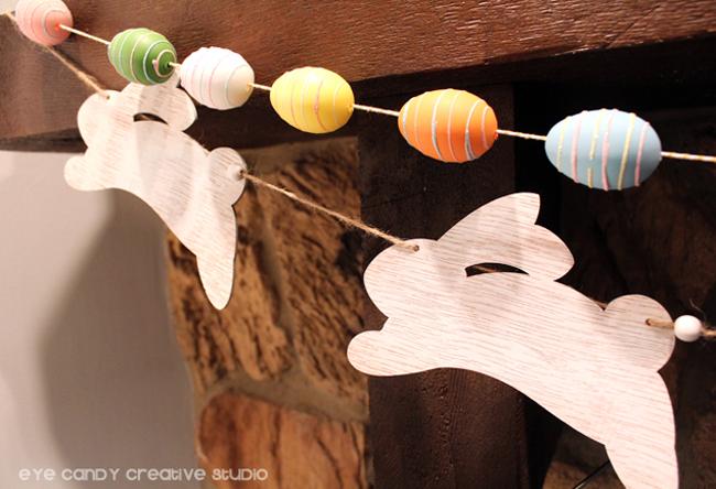 bunny garland, easter egg garland, easter eggs, bunnies, spring