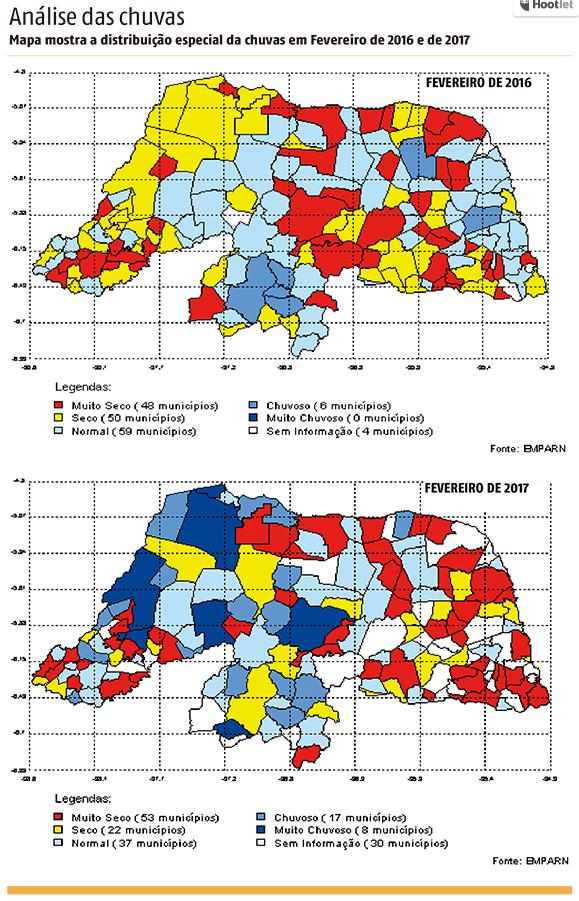10 cidades potiguares receberam mais de 200mm de chuva em 2017. Vejam comparativo de 2016 com 2017