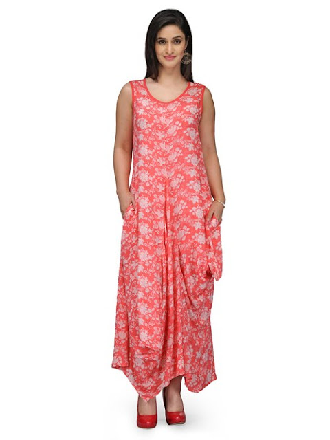 Coral Red Flared Viscose Dress