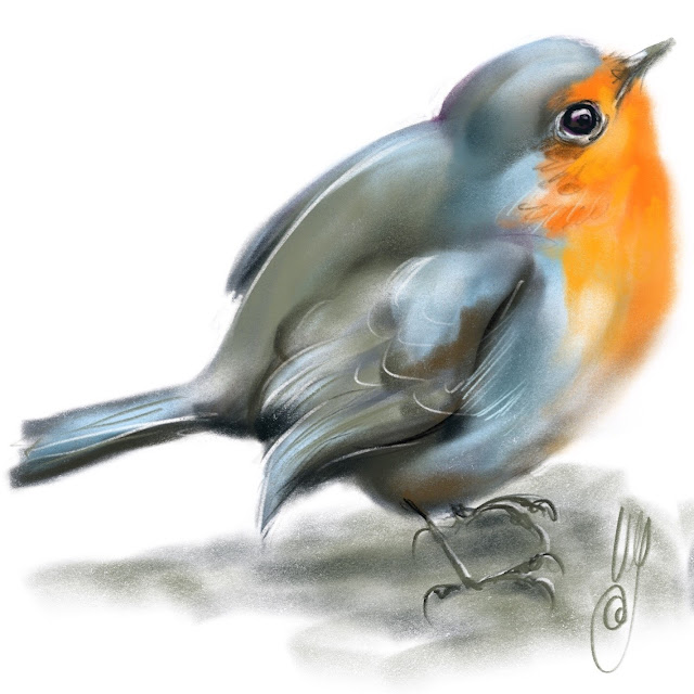 Robin a bird painting by Artmagenta