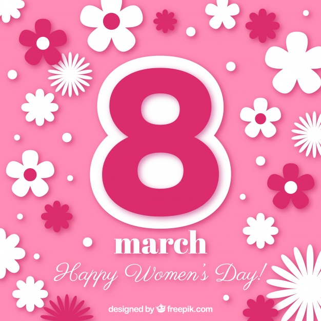 8 march Floral women's day background Free Vector