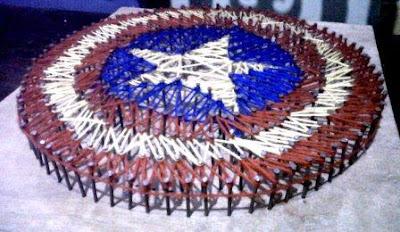 Captain America nail and string art