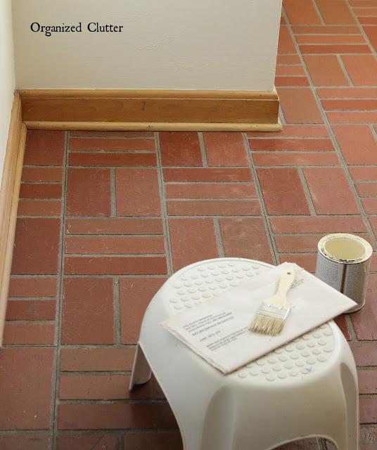 dated vintage vinyl brick tile makeover
