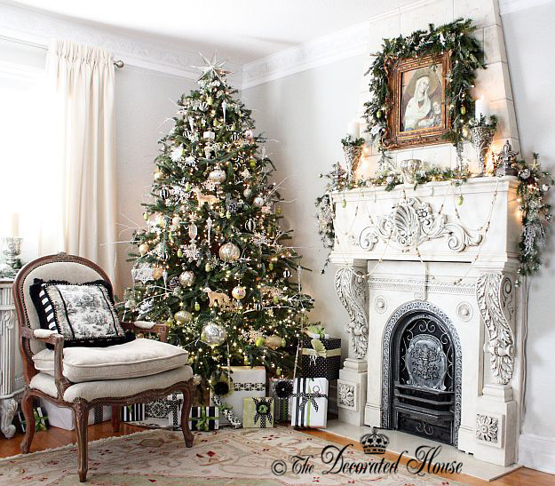 The Decorated House ~ Christmas Tree and Mantel - White and Silver with Black Accents