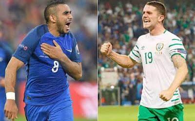 اهداف مباراة فرنسا وايرلندا اليوم الاحد 26 يونيو 2016 وملخص كورة يوتيوب نتيجة لقاء زملاء باييت في ثمن نهائي يورو 2016