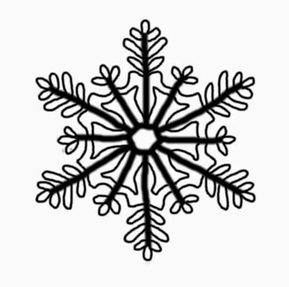 Illusztráció gyerekvershez, fekete-fehér, tetoválásra emlékeztető digitális rajzon a szakadó hóból kiváló különleges hópihe nagyító alatt vizsgálva.