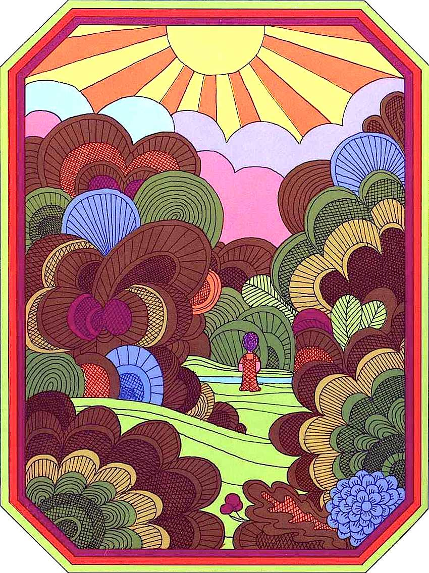 a Nicolas Sidjakov illustration 1969, child in nature, sun