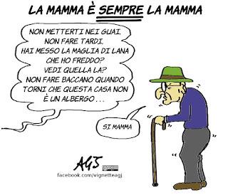 festa della mamma, pensione, umorismo, vignetta