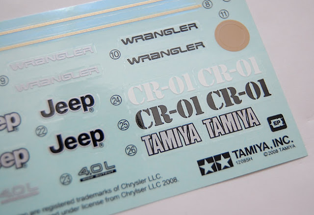 Tamiya Jeep Wrangler cc01 cr01 decals