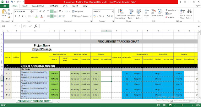Procurement Tracking Chart Excel Template Engineering Management