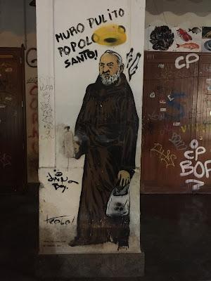 Palmero street art: Padre Pio by Trebel