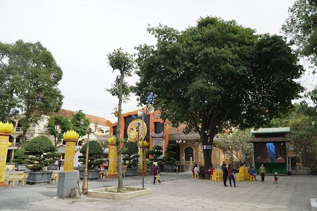 Sân chùa có cây Lộc Vừng Sala hoa nhiều, xin lộc tại đây rất hiệu nghiệm