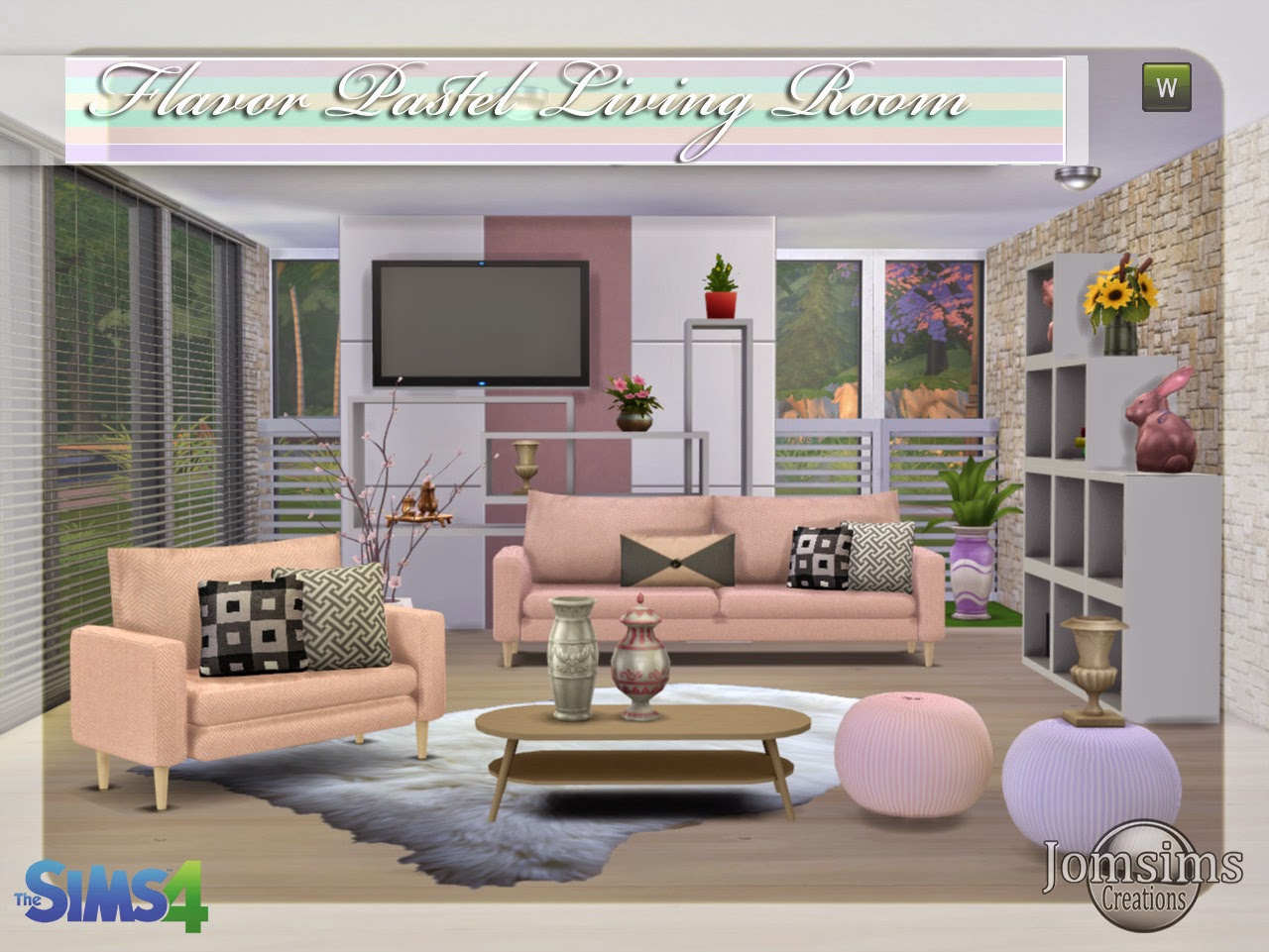Jomsimscreations blog new living room sims 4 flavor for Salon moderne sims 4