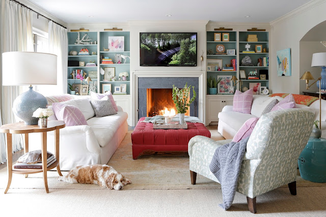 Gorgeous living room with fireplace and built-ins by Rachel Halvorson - found on Hello Lovely Studio