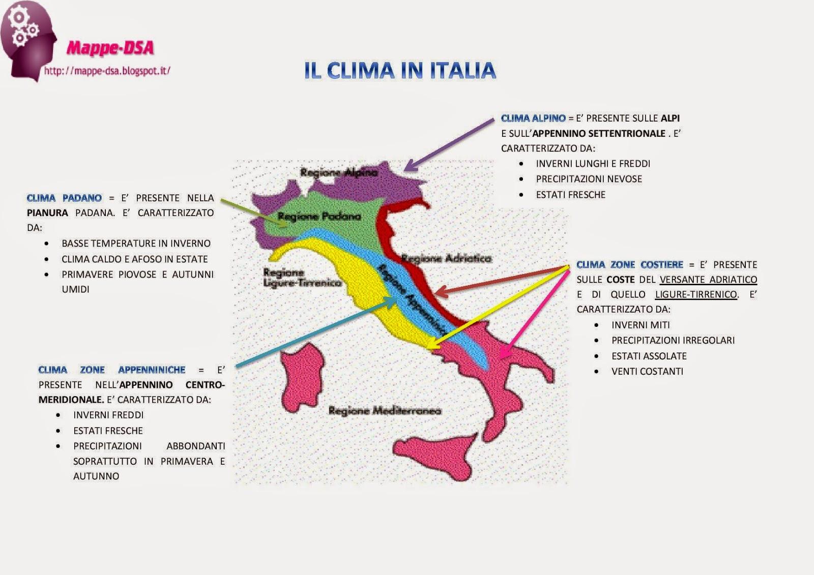 Italia Climatica Cartina.Il Clima In Italia