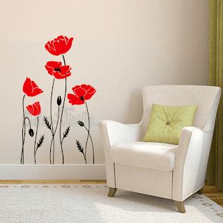 vinilo decorativo pared flores amapolas plantas floral