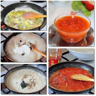 Friptura de strut cu trei sosuri si doua garnituri