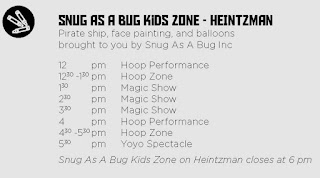 Snug As A Bug Kid's Zone at the Summer Solstice in the Junction, schedule