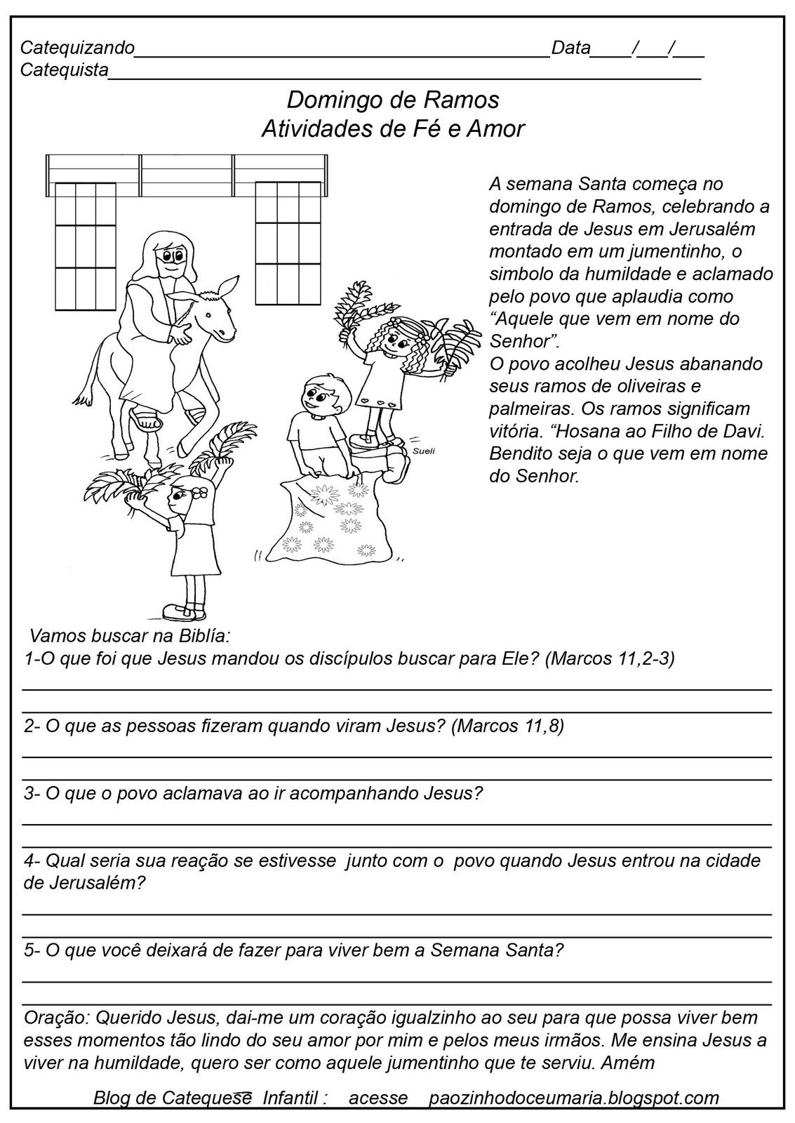 Muito Pãozinho do Céu: Domingo de Ramos - Atividades CATEQUESE ZI58