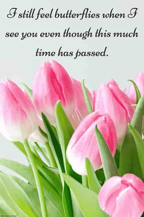 love quote about time with pink flowers