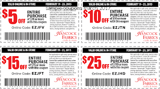 free Hancock Fabrics coupons march 2017