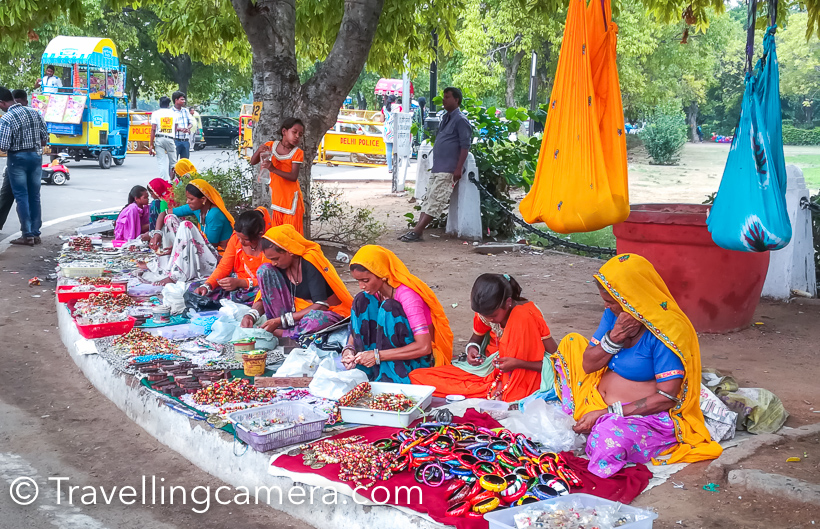 It is the place where women-hawkers, draped in colorful Rajasthani or Haryanvi attire, sell trinkets to tourists, where patient young men lighten up the surroundings with magical soap-bubbles in an attempt to entice children into buying the soup solution and the bubble blower.