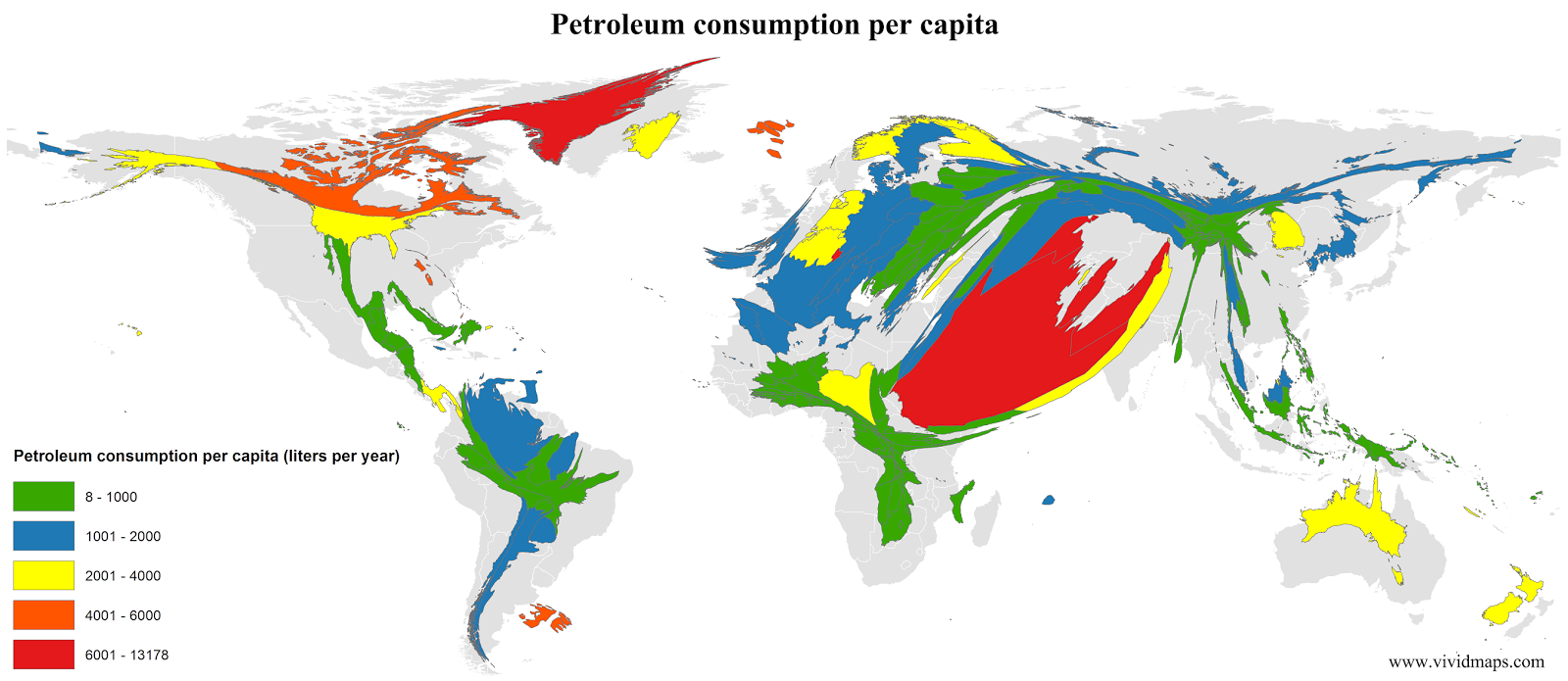 Petroleum consumption per capita