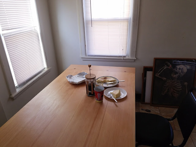 photo of the table with breakfast laid out on it