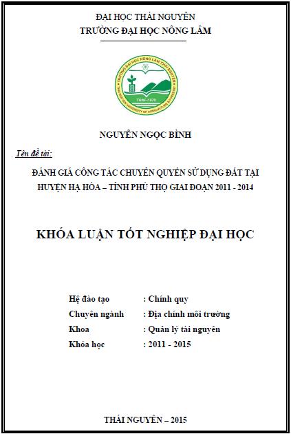 Đánh giá công tác chuyển quyền sử dụng đất tại huyện Hạ Hòa tỉnh Phú Thọ giai đoạn 2011 – 2014