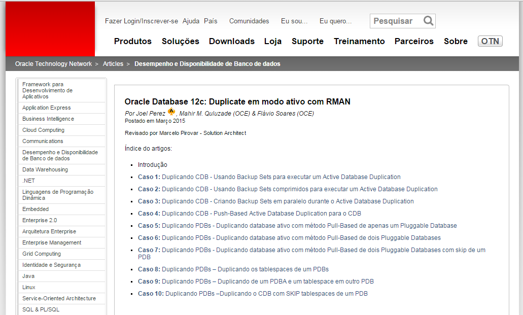 Oracle Database 12c - Active Duplication with RMAN (in Portuguese