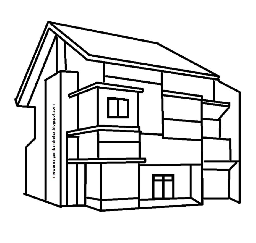 Mewarnai Gambar Mewarnai Gambar Sketsa Rumah 4