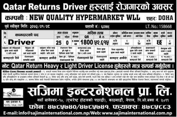 Jobs For Nepali In Qatar, Salary -Rs.52,615/